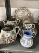 19th cent. Staffordshire Frog mug decorated in the Chinoiserie style, Prattware side plates, and