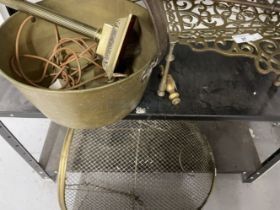 Metal Ware: Set of brass fire irons, brass trivet, pan, fire guard and lamp.