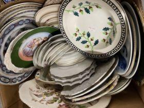 19th/20th cent. Ceramics: Various plates, blue/white, etc. (2 boxes)