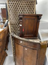 18th cent. Oak corner cupboard. Plus 19th cent. Mahogany hanging wall cupboard and two fold wooden