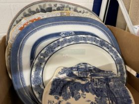 19th cent. Pottery: Meat plates blue/white willow plates x 2, blue/white Indian pattern plate,