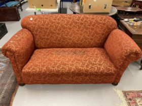 20th cent. Pre-war upholstered drop end two seater sofa. 65ins.