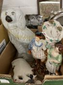 Late 19th/Early 20th cent. Ceramics: Staffordshire flatbacks, girl with a goat, Highland lad and his