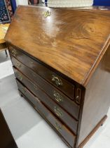 19th cent. Mahogany bureau, one short and three long drawers, inlaid decoration to the full fitted