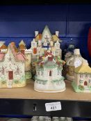 19th cent. Ceramics: Staffordshire pastille burners, octagon cottage and seven other examples,