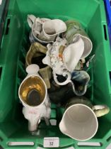 19th/20th cent. Jugs to include ironstone, Toby jugs, transfer ware, Studio pottery, etc.