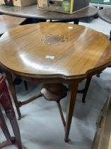 Edwardian mahogany tables, one with shaped round top with inlaid central panel, the other plain