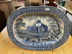 19th cent. Davenport meat plate 18½ins. plus a large Spode Chinoiserie foot bath 20ins. Both have