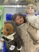 Dolls: Armand Marseille doll 17ins. Plus a quantity of dolls heads and teddy wearing flying suit.