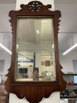 19th cent. Mahogany mirror, fretwork surround with acanthus finial.