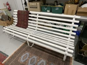 Late 19th cent. Cast iron & wooden slatted garden bench. 7ft. long.