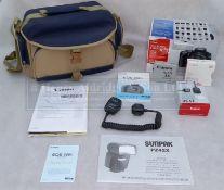 Canon EOS 400D SLR with EFS18-55mm f1:3.5-5.6 Lens, Sunpak PZ42X Flash, OC-E3 Off-Camera Shoe