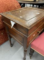 Late 19th cent. Oak silver box on stand, lift up lid, over single drawer on turned legs. W22ins. x