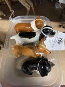 20th cent. Ceramics: Beswick Cocker Spaniel Standing No. 1754, Corgi Standing, British Bulldog,