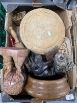 Treen carved figures, bread board, carved pig, rolling pins, boxes, cribbage board, a pair of