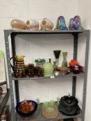 20th cent. Glassware: Vase, soda glass vase, Nailsea glass pipe, iridescent lamp shades, End of Day,