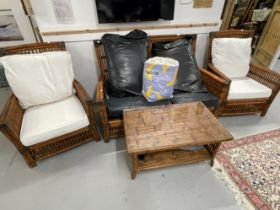 20th cent. Conservatory furniture, two armchairs, two seater settee, and coffee table. Bamboo and