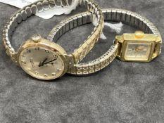 Watches: ladies gold plated Tudor on bracelet, square dial. Plus a ladies Excalibur watch, 9ct