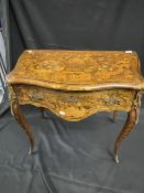 19th cent. Dutch marquetry serpentine fronted one drawer side table on cabriole legs with brass