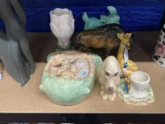 20th cent. Ceramics: Sylvac lily vase, rabbit wall pocket, green dog No. 36, giraffe No. 5234, Keele