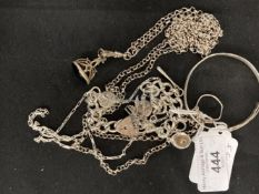 Hallmarked Silver: Charm bracelet and seven charms, chain with paper chase links, child's bangle,