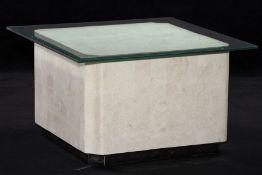 Couchtisch mit Glasplatte, Tischfuß allseitig aufwendig