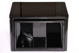 Tisch mit 4 Hockern, im ArtDéco-Stil, Holz, schwarz