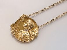 18 kt Gold Jugendstilanhänger mit Diamanten, GG 750/000,