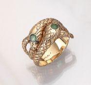 14 kt Gold Doppelschlangenring mit Farbsteinen, GG