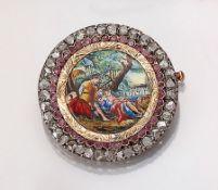 Brosche mit Miniaturmalerei, GG 585/000 und Silber,