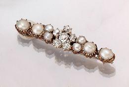 14 kt Gold Brosche mit Diamanten und Perlen, Russland um