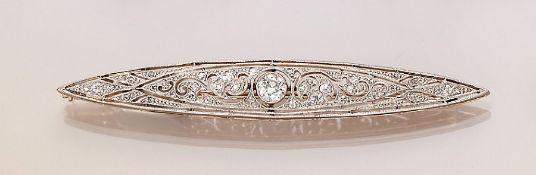 Art-Deco Brosche mit Diamanten, GG 585/000 und Platin,