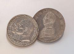 Konvolut 2 Silbermünzen, Hessen, best. aus: 1 x 1