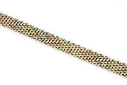 14 kt Gold Armband, GG/WG/RoseG 585/000, Backsteinoptik,