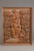 Große mythologische Bildschnitzerei, Indien, 1. Hälfte 20.