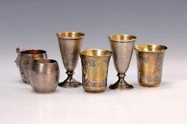 3 Paar Schnapsbecher, Russland, Silber, 1x gravierter