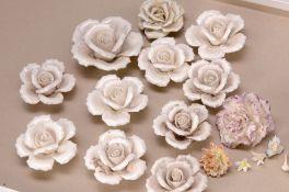 17 Porzellanblüten, wohl Meissen und Thüringen, 19. Jh.,