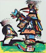 Otmar Alt, geb. 1940, abstrakter Vogel, Offset-Litho,