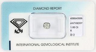 Loser Diamant, 1 ct get.Weiß (K)/si2, Kissenschliff, ca.