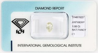 Loser Diamant, 1 ct Natural fancy light yellow/p1,