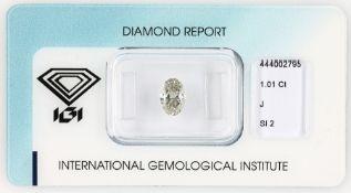 Loser Diamant, 1.01 ct l.get.Weiß (J)/si2, oval facett.,