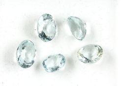 Lot 5 lose Aquamarine, zus. ca. 12.7 ct, ovalfacett.