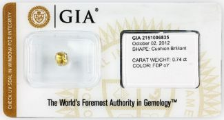 Loser Diamant, 0.74 ct Natural fancy deep orangy yellow,