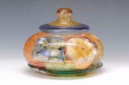 Deckeldose, Frankreich, um 1920-25, farbloses Glas, flach