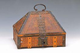 Deckelkästchen/Schatulle, Indien, um 1900, Holzgehäuse