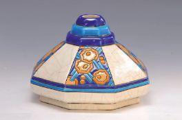 Vase, Longwy, um 1925-40, Fayence, abstr. floraler Dekor,
