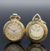 Konvolut: 2 Damentaschenuhren in Gold, 1 x Stowa in GG