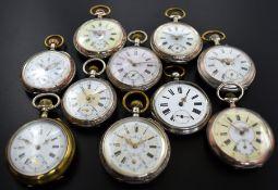 Konvolut: 10 Taschenuhren, Schweiz um 1860 - 1890, meist