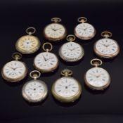 Konvolut: 10 Taschenuhren, Schweiz um 1870- 1890, alle