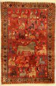 Gabbeh alt, Persien, um 1950, Wolle auf Wolle, ca. 164 x